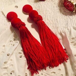 Beautiful Bold Red Tassel earrings. Light weight